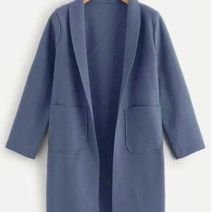 plus pocket side solid longline coat 3xl